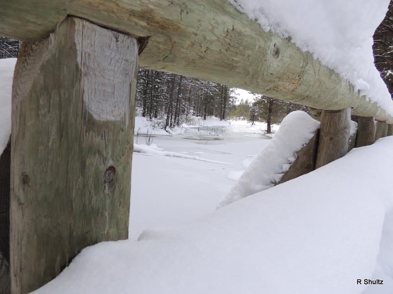 Name:  Snow from bridge at Paulina Creek.jpg Views: 1190 Size:  49.5 KB