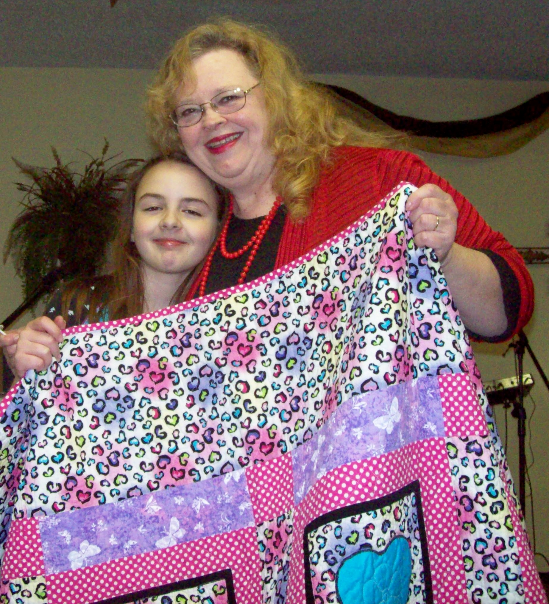 Name:  Bree smiling with Deb and quilt closeup.jpg