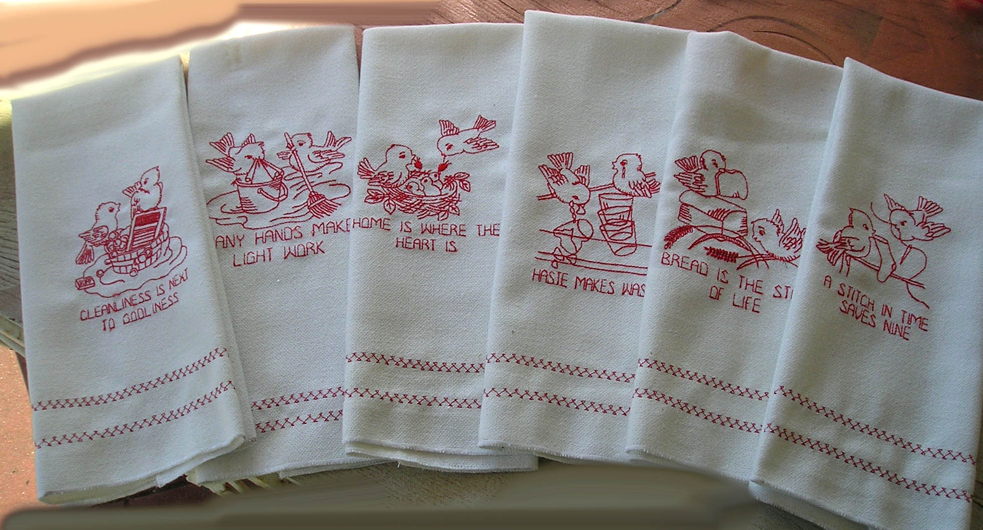 Name:  Busy Birds Virtuous Sayings Tea Towels Red work 1.jpg Views: 1660 Size:  313.5 KB