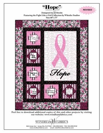 Free Quot Pink Ribbon Cancer Awareness Quot Quilt Pattern By Windham