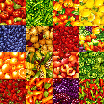 Vegetable Fruit Fabrics For Canning Jar Quilt
