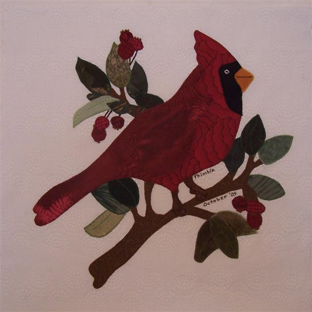 Quilt Pattern With Cardinal Birds