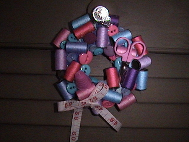 Name:  pink teal spool wreath.JPG