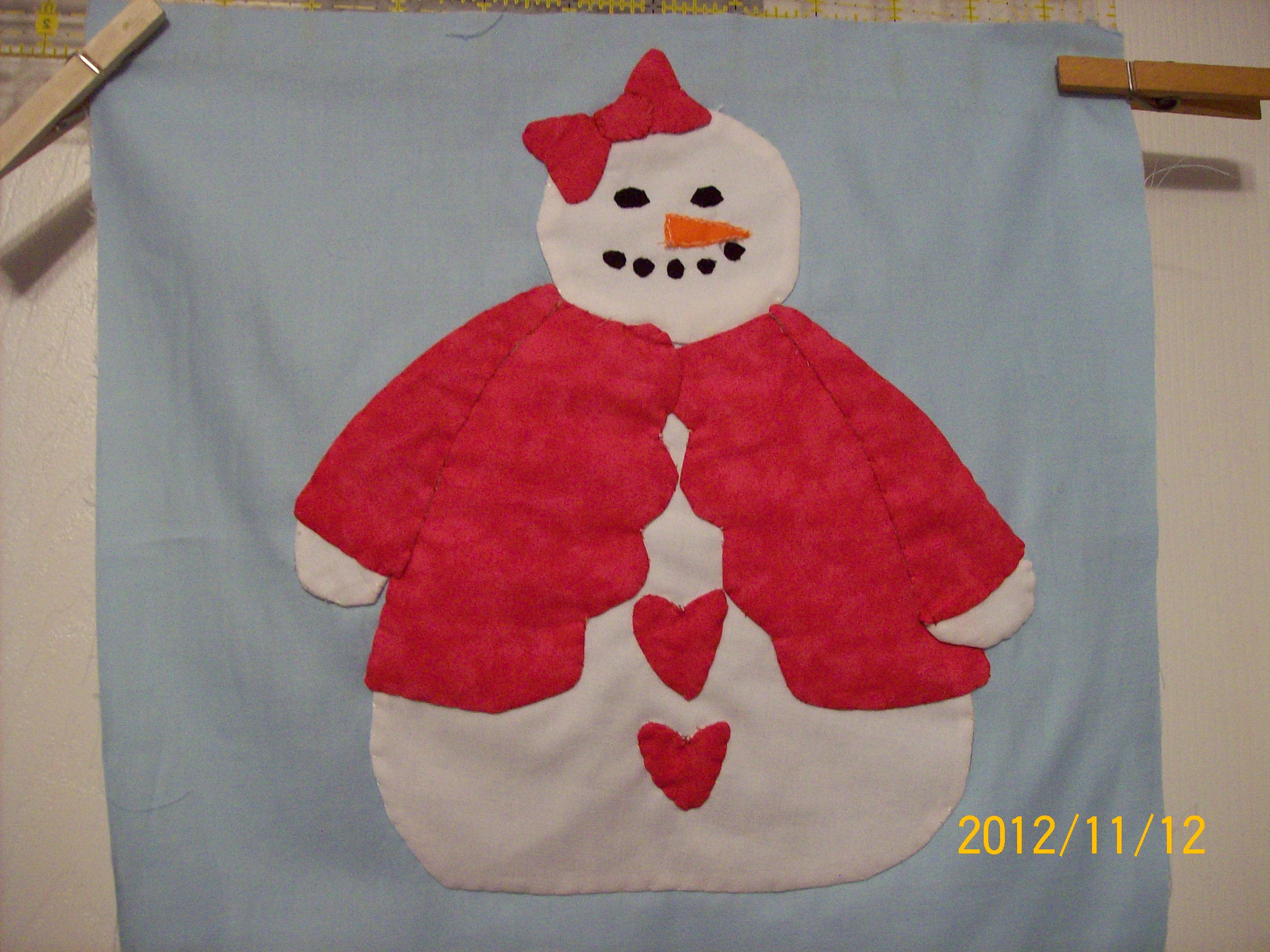 Name:  1st Snow person block for Row Robin 001.JPG