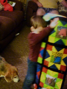Name:  Kody receiving Elmo Quilt 004.jpg