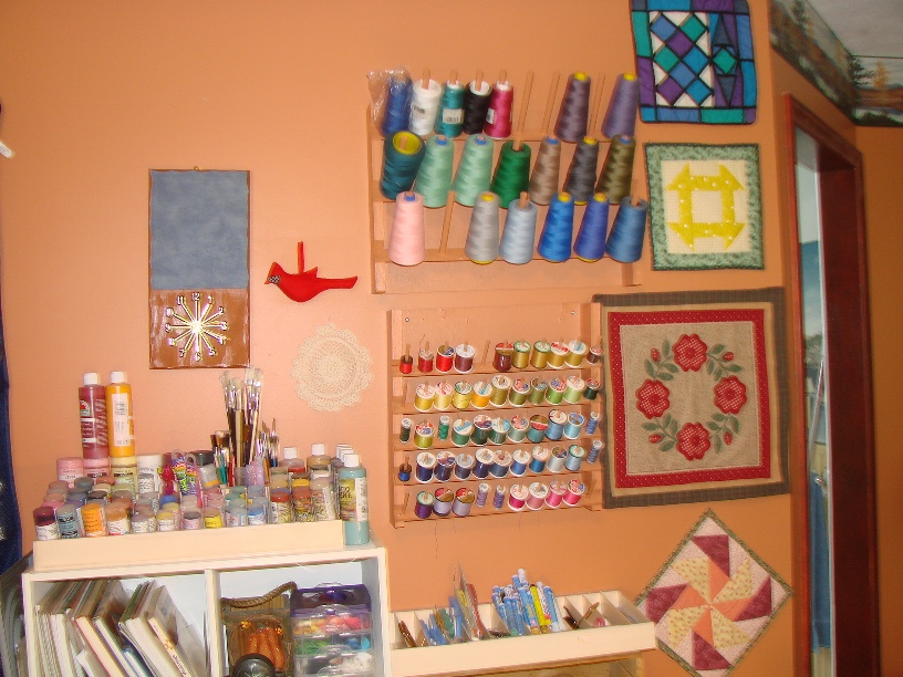 Name:  one wall in my sewing room.jpg