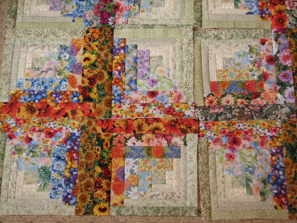 New Watercolor Floral Log Cabin Squares Just 15 So Far