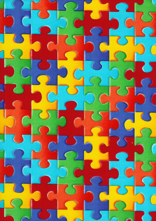 Autism Awareness Puzzle Pieces Fabric