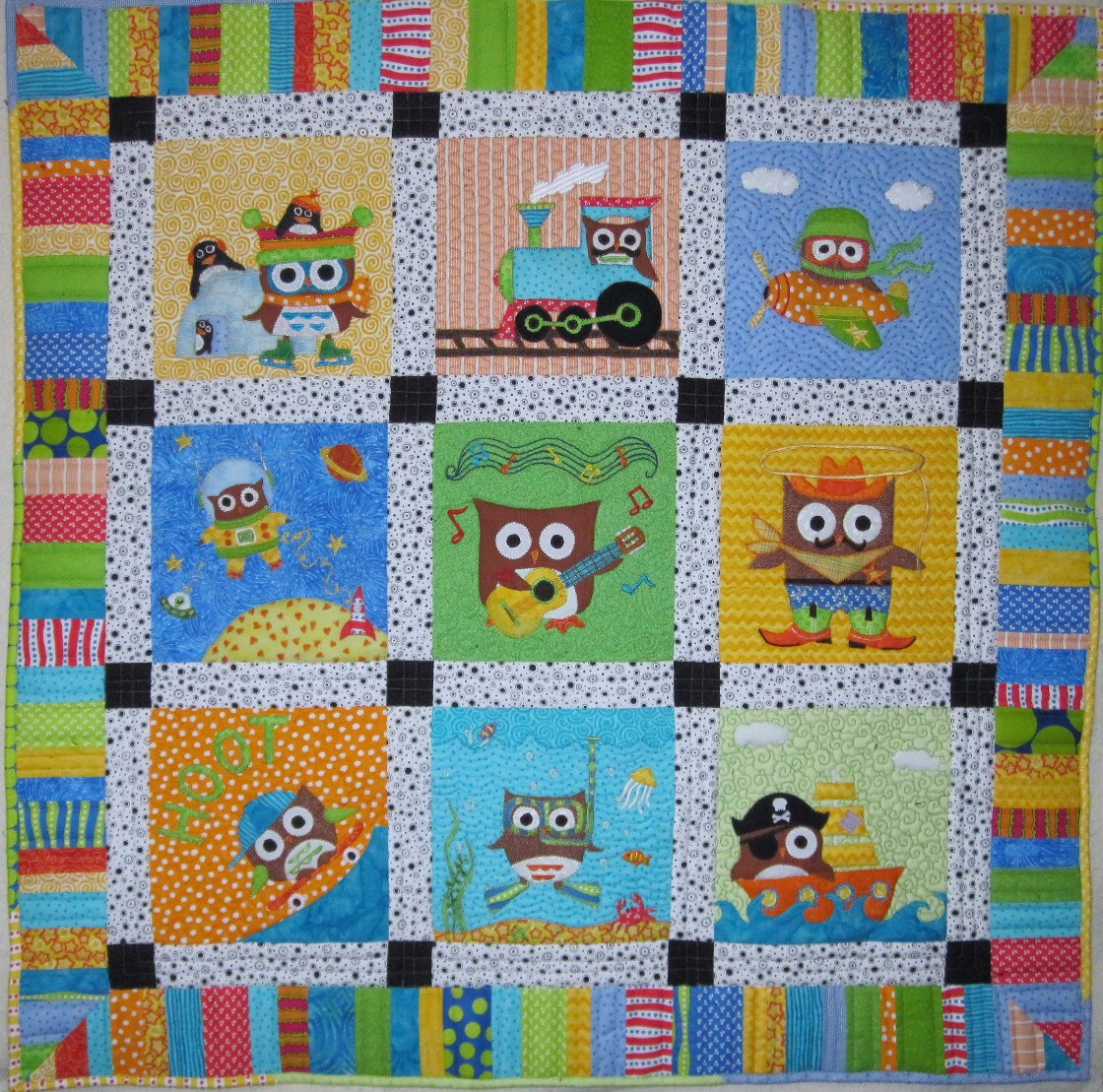 Thread Baby Boy Owl Quilt completed Owl Quilt Patterns Baby