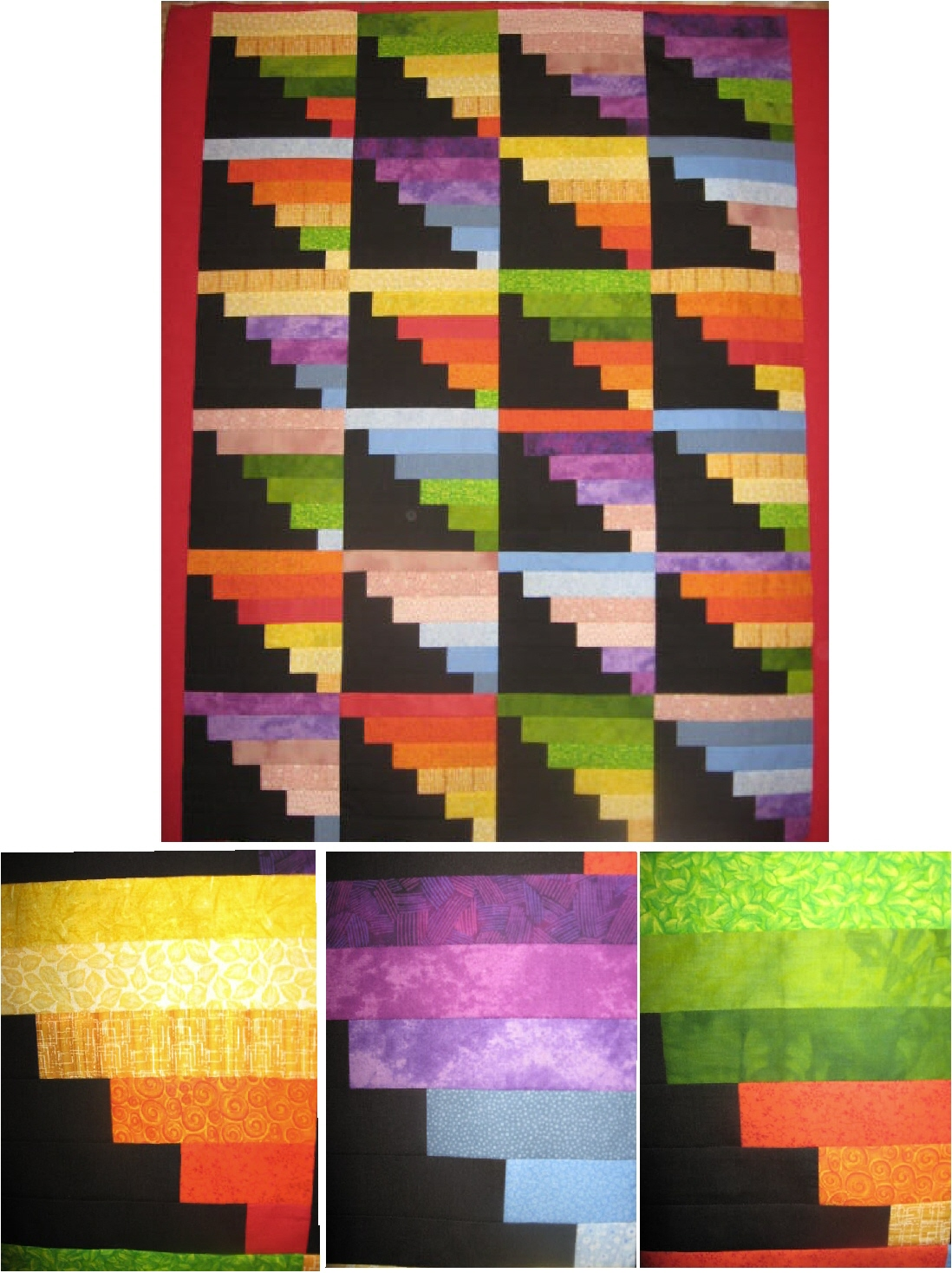 Name:  Rainbow Strip Quilt Top.jpg