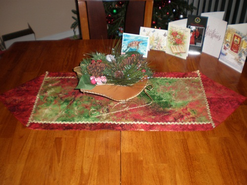 Name:  Christmas table runner decorated.JPG