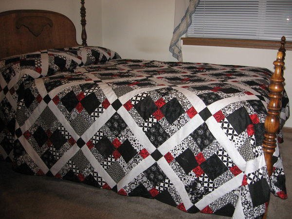 Black White And Red Quilt Done