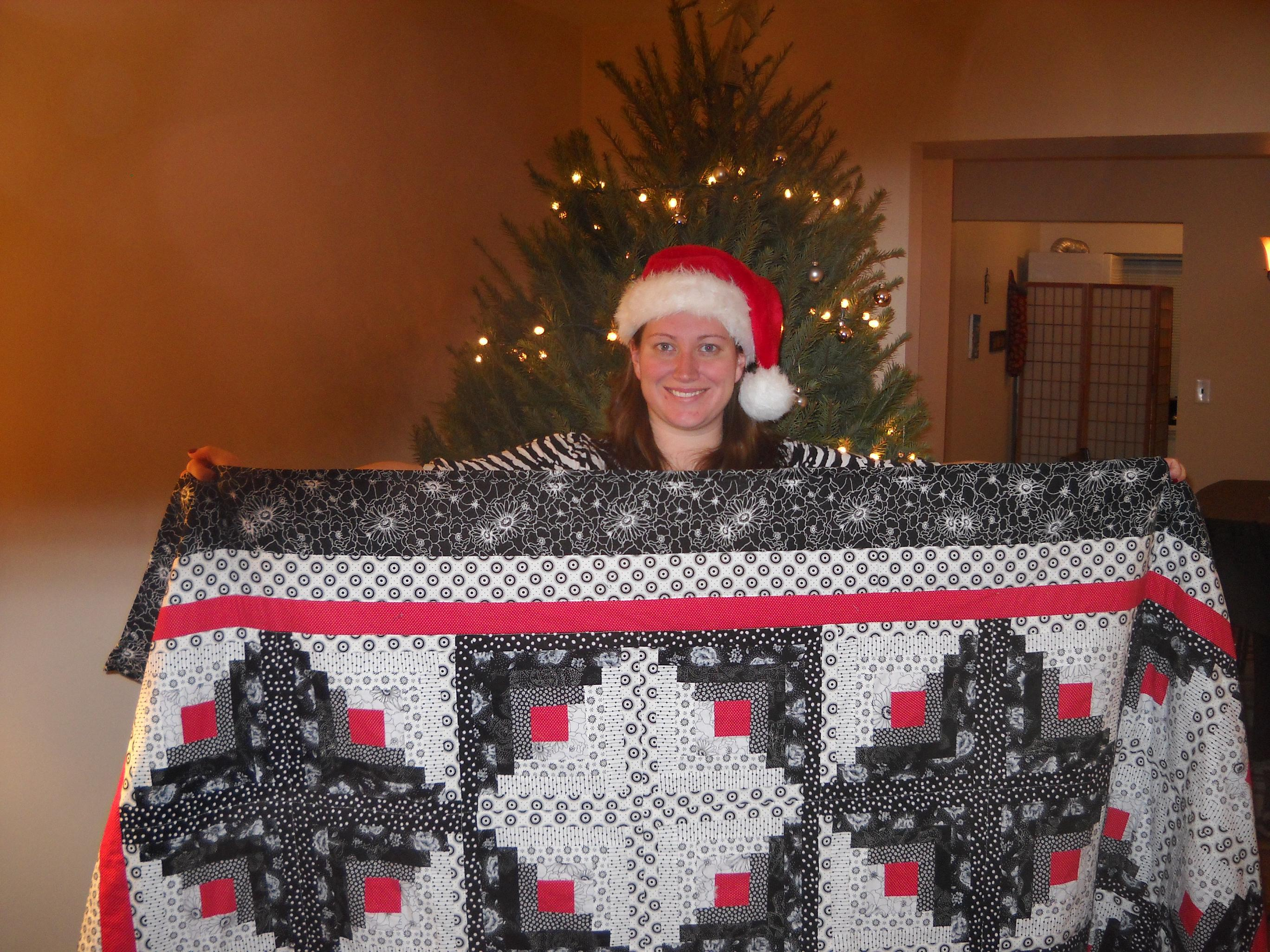 Name:  Catherine and her quilt small.JPG