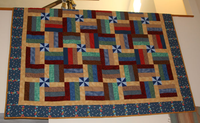 Split rail fence with pinwheels finished - Quiltingboard ...