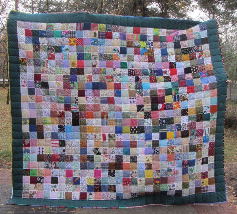 Name:  queen size 4inch scrappy charity quilt.JPG