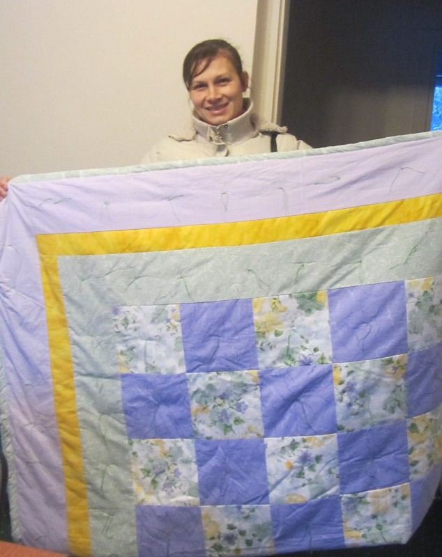 Name:  Agnieszka and charity quilt.JPG