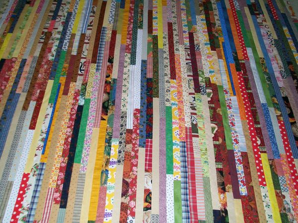 1 1 2 Quot Scrap Strip Quilt Warning Bright Finished