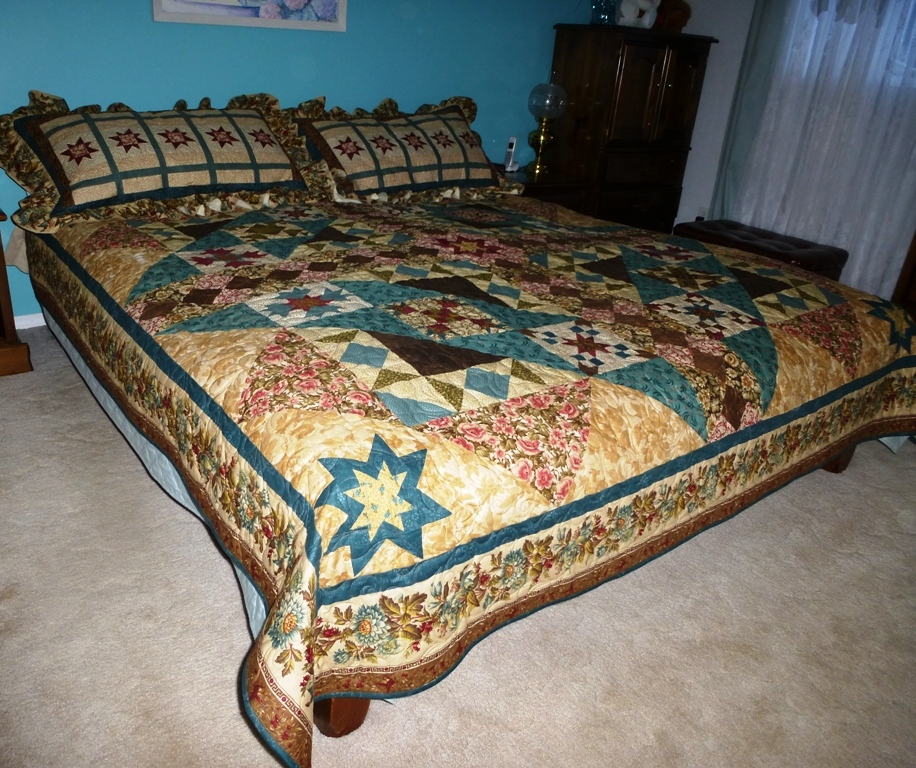 Name:  P1000987 Quilt- King Size  WOC quilt with Shams completed Jan 17 2014.JPG