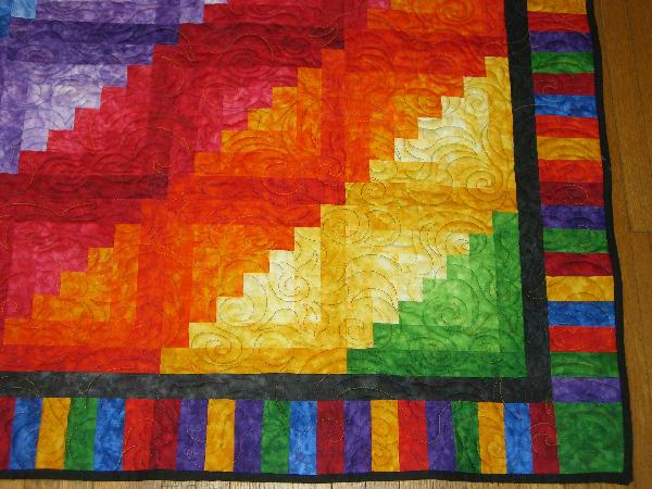 Rainbow Log Cabin Quilt Quilted And Finished