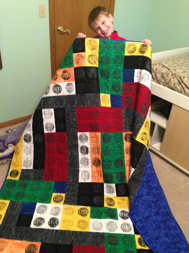 Name:  Lego Quilt and happy boy receiving.jpg
