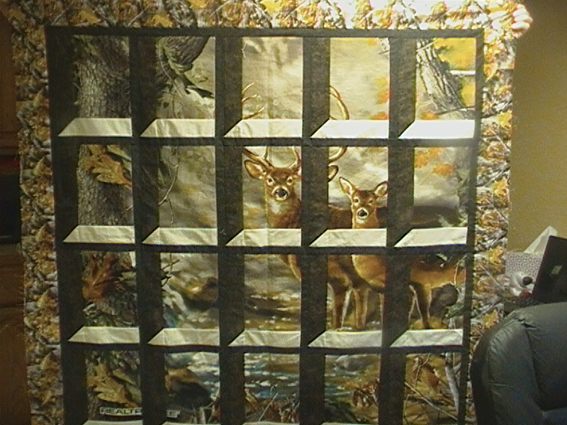 Attic Window Deer Quilt Top
