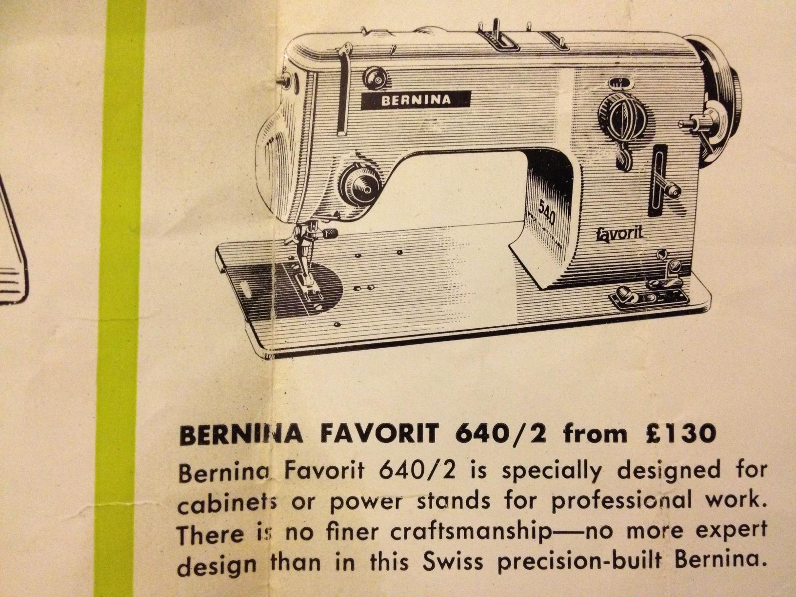 Bernina 640-2 brochure pricing