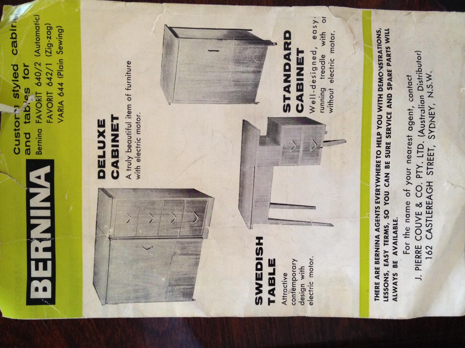 Bernina 640-2 cabinet options from original brochure