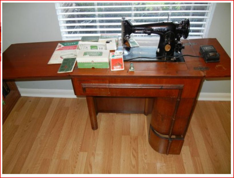 Puzzling gizmo and cabinet with a 1940 Singer?